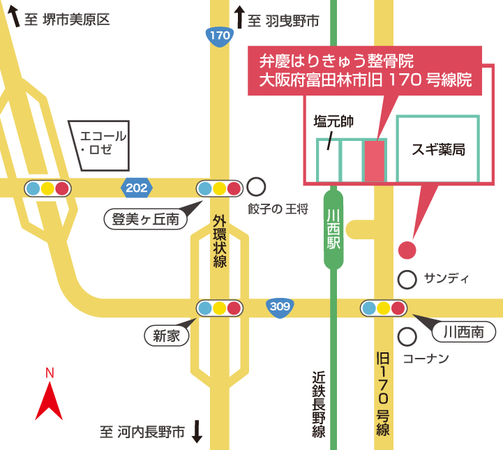 大阪府富田林市旧170号線院周辺地図